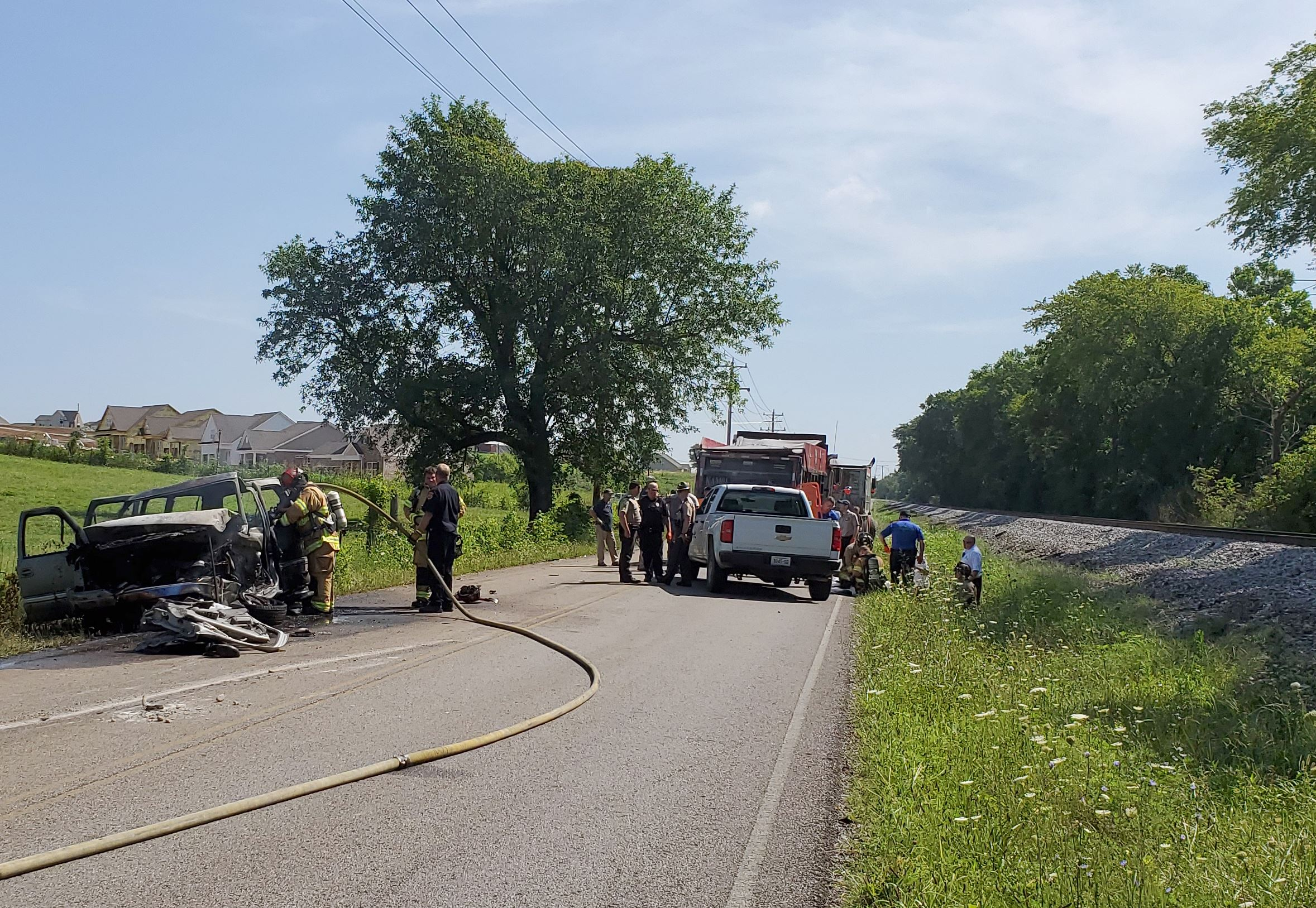 Crash scene on Cleburne Road on July 9, 2019