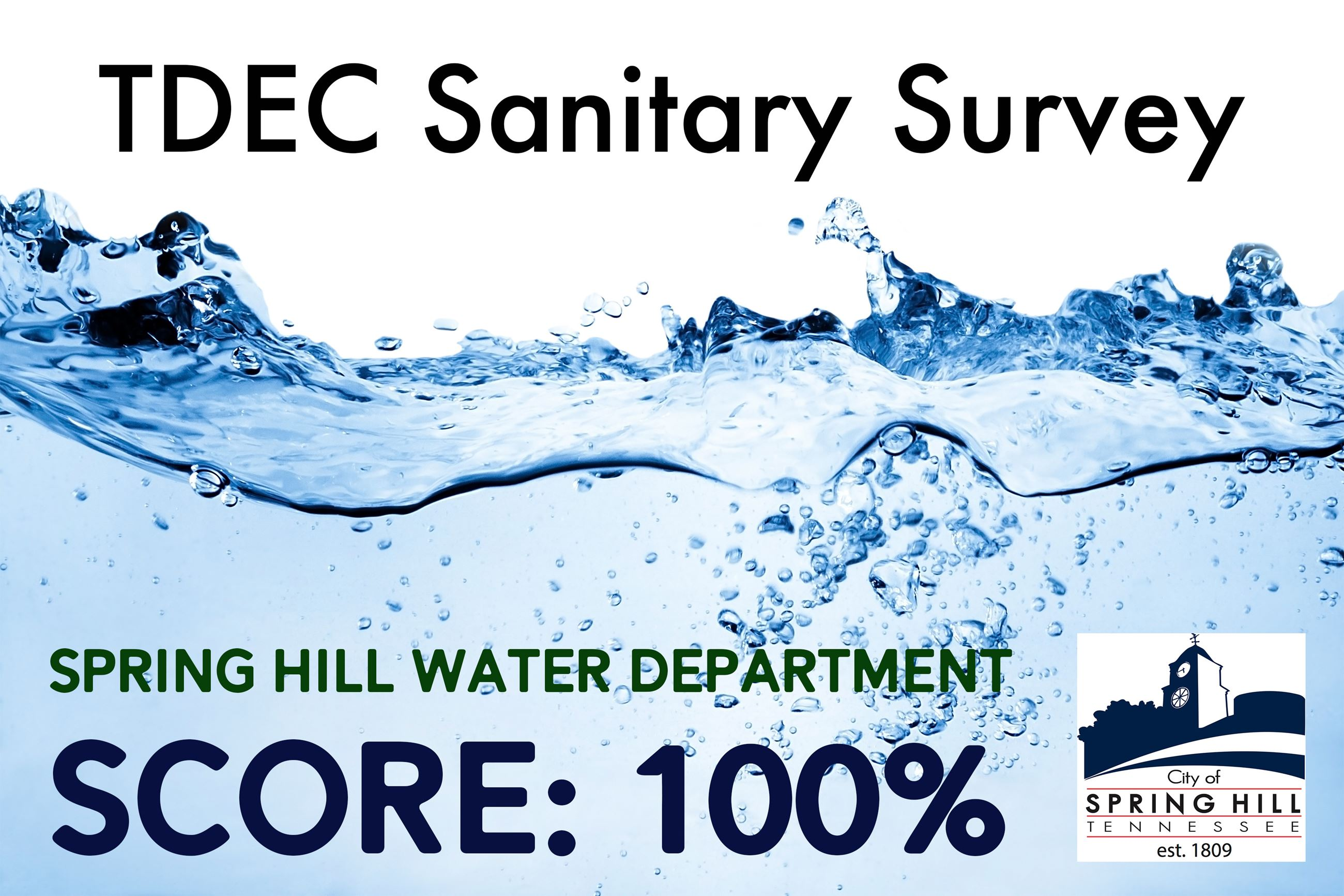 Spring Hill Water Department scores one hundred percent on TDEC Sanitary Survey
