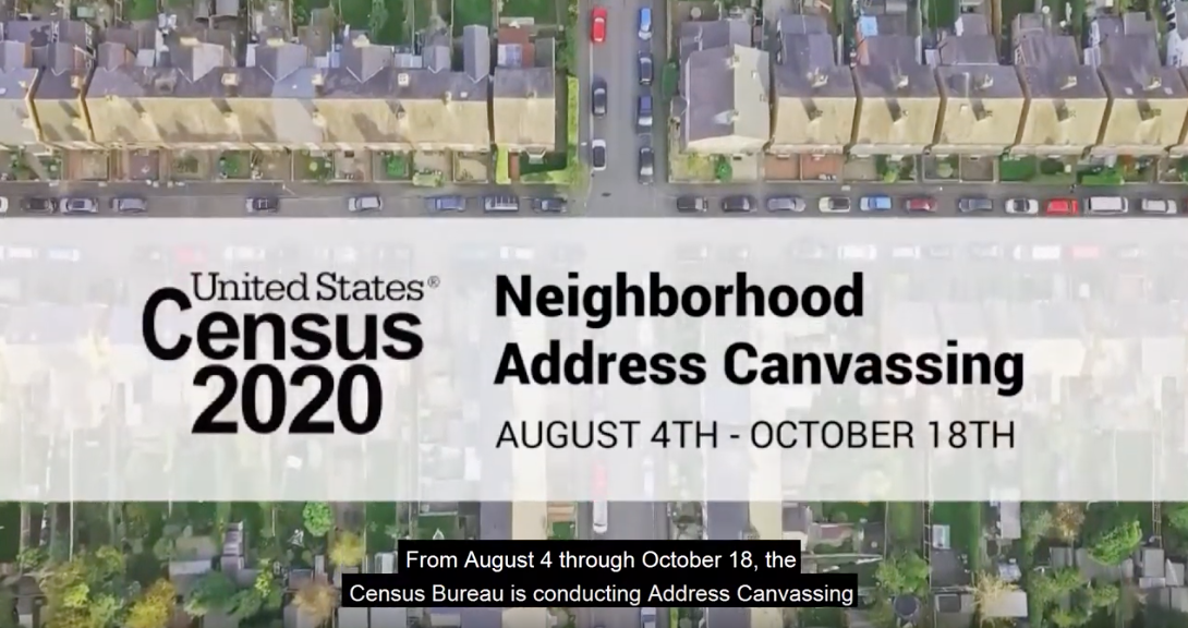 Census Bureau Neighborhood Canvassing begins August 12, 2019, for 2020 Census count