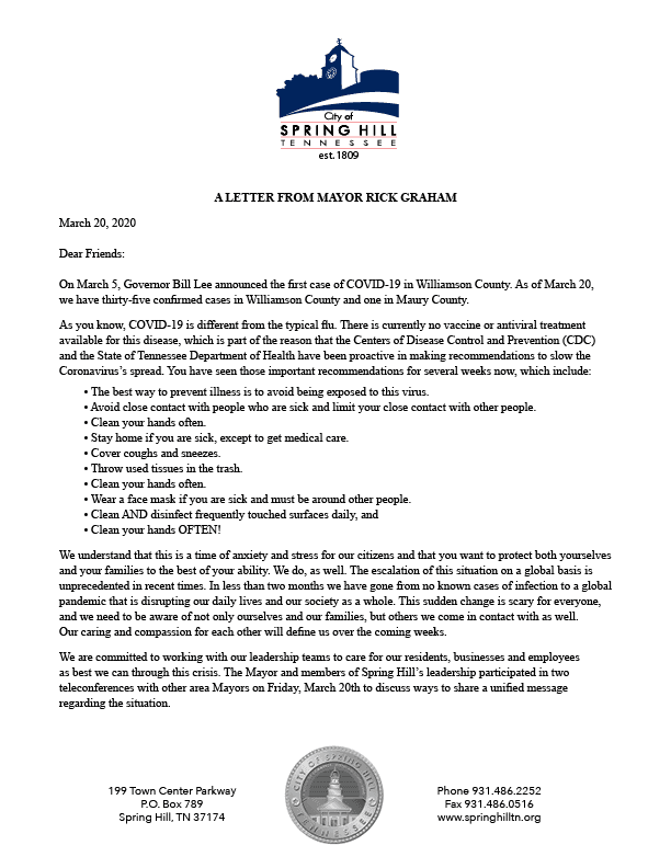 Letter from Mayor Graham 3.20.2020