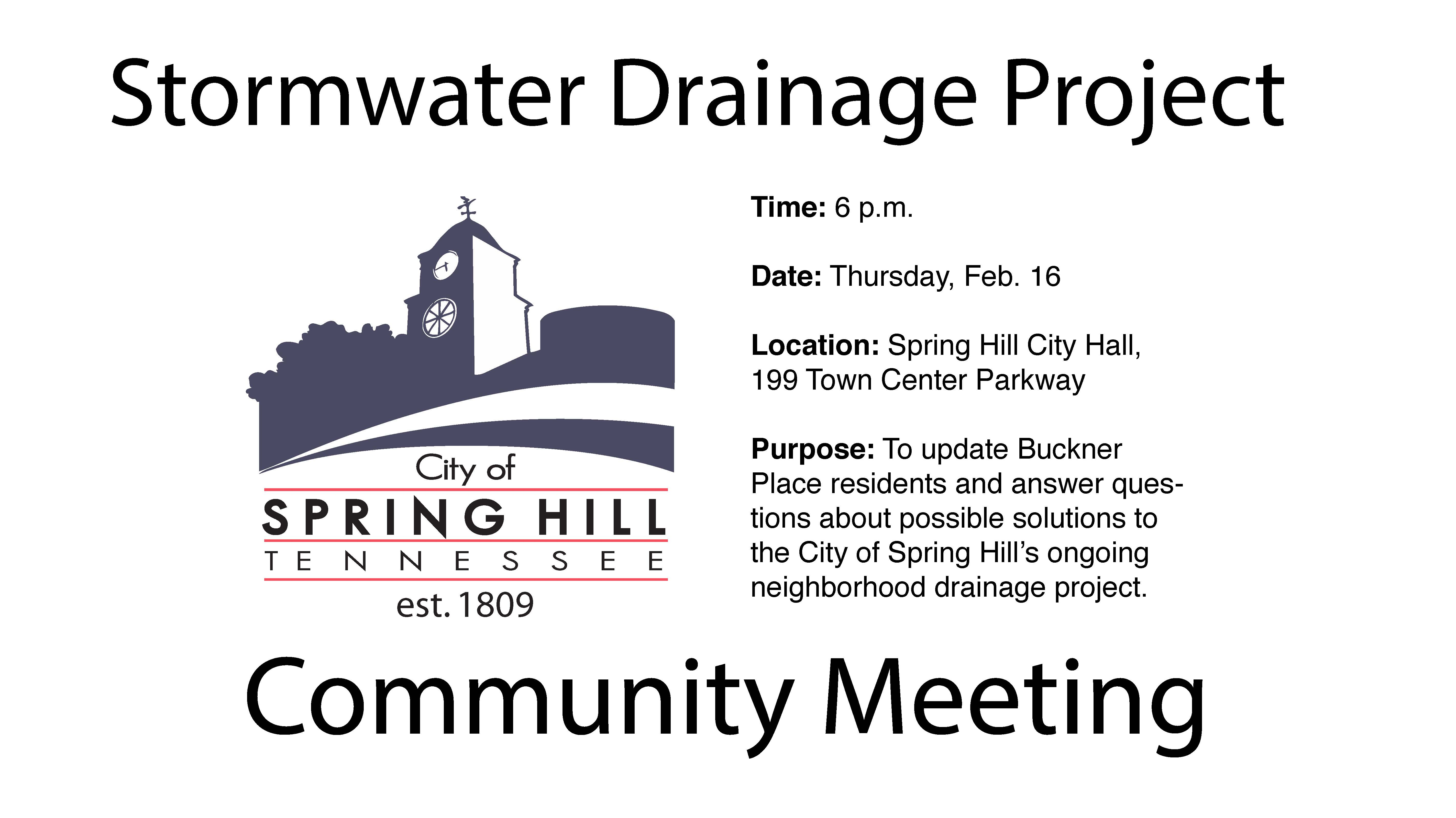 Buckner Place Community Meeting on stormwater drainage project solutions
