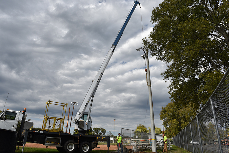 New ballfield lighting at Evans Park
